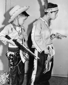 "Two Boys Play ""Cowboys and Indians"""